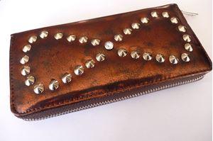 Afbeelding van Goudbruine portemonnee met studs en strass