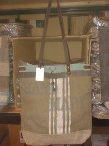 Afbeelding van Canvas tas met groen rand / leer