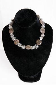 Afbeelding van Bruin/grijse stenen ketting met strass tonnetjes