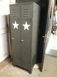 Afbeelding van franse locker kast 2 deurs met ster of colourwax
